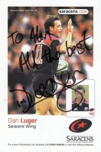 Dan Luger Saracens English 2003 Rugby World Cup Hand Signed Photo