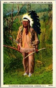 Cherokee, North Carolina Postcard A Primitive Hunter Indian w/ Bow - Linen