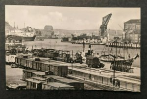 Mint Vintage Shipping Harbor and Railroad Kiel Germany Real Photo Postcard RPPC