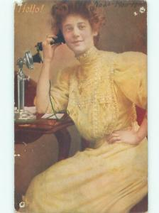 Pre-Linen PRETTY WOMAN USING ANTIQUE CANDLESTICK TELEPHONE AB7525
