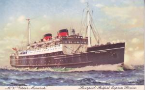 MV Ulster Monarch Ship Belfast Steamship Co Old Postcard