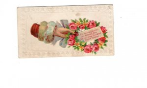 Vintage  Calling, Visiting Card, Rose Wreath with Friendship Saying, W Ray
