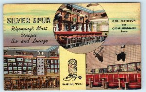 RAWLINS, WY Wyoming~ SILVER SPUR BAR Lincoln Hwy? c1940s Roadside Linen Postcard