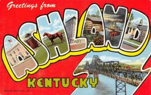 Ashland Kentucky~Large Letter CHROME Postcard~Riverboat Steamer~Bridge~1954 PC