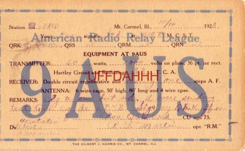 9AUS AMERICAN RADIO RELAY LEAGUE Station 6BMD 50 watt transmitter RT Martin 1923
