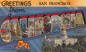 Greetings from San Francisco, California, Early Postcard, Unused