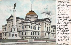Court House, South Bend, Indiana, Early Postcard, Used in 1907