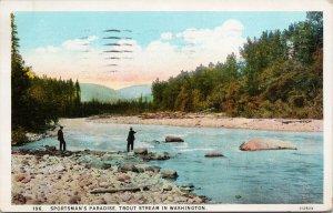 Sportsman's Paradise Trout Stream WA Fishermen Fishing c1929 Postcard F14