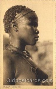 Sudan Nuer Girl African Nude writing on back
