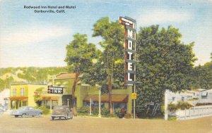 REDWOOD INN Garberville, CA Roadside Hotel & Motel ca 1940s Linen Postcard