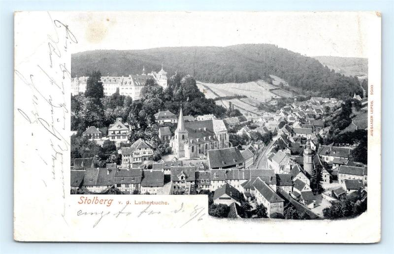 Postcard Germany Stolberg V.D. Lutherbuche View of Town J13