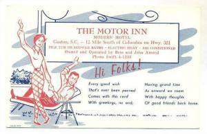 AD, The Motor Inn-Modern Motel, A Couple Relaxing, Gaston, South Carolina, 1959