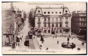 Old Postcard Bank Caisse d & # 39Epargne Rue Vital Carles Bordeaux Trams Blac...
