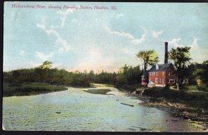 Maine HOULTON Meduxnekeag River showing Pumping Station - Divided Back