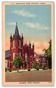 Mid-1900s Washington Street Methodist Church, Columbia, SC Postcard