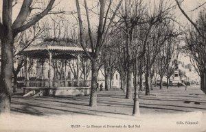 Macon Le Kiosque Et Promenade Du Quai Sud French Bandstand Postcard