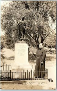 San Gabriel Mission CA RPPC Photo Postcard Priest at Father Serra Statue c1930s