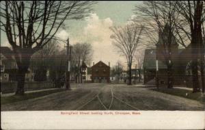 Chicopee MA Springfield St. c1910 Postcard
