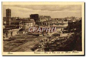Old Postcard Roma Colosseo Arco di Tito e visto dal Monte Palatino