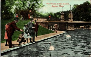 The Swan Boats on willow bordered lagoon of Boston Public Garden IL Postcard PC