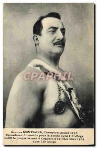 Old Postcard Achilles Montagna Italian Champion 1900 Weightlifting