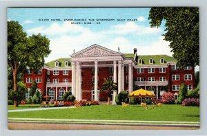 Biloxi MS-Mississippi, Biloxi Hotel on the Gulf, Advertising Linen Postcard