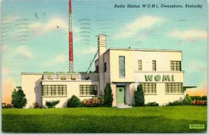 1943 Owensboro, Kentucky Postcard Radio Station WOMI Building View Linen