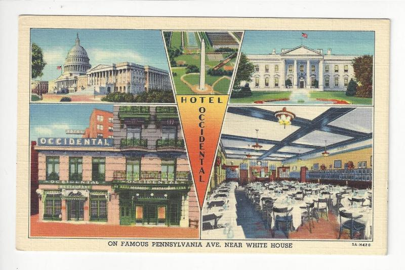 Vintage USA Picture Postcard -Hotel Occidential - Near White House (AG14)