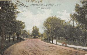 Fort Wayne Indiana~Swinney Park Entrance~Dirt Road Along Paved Path~Fork~1911 PC