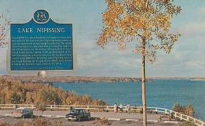 Lake Nipissing Canada Historical Plaque Sign Lookout Postcard