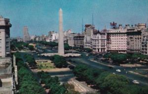 Argentine Buenos Aires View Of Avenue 9th Of July Pan American World Airways ...