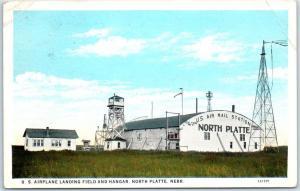 North Platte, Nebraska Postcard U.S. Air Mail Station Field & Hangar 1932 Cancel