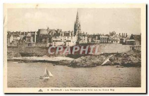 CARTE Postale Old St Malo Ramparts and the city seen from Grand Bey