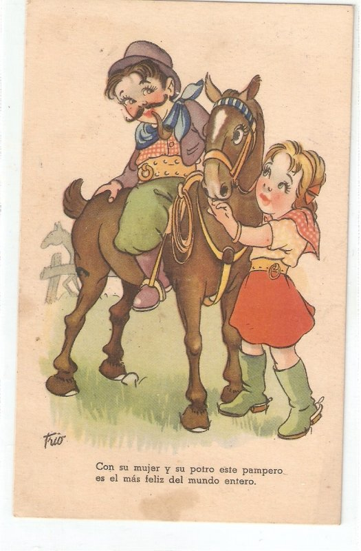 Pampas couple with their horse  Curious vintage Spanish postcard