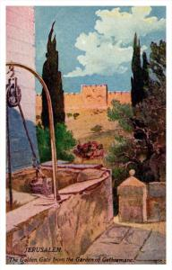Jerusalem  Golden Gate from Garden of Gethsemanc artist drawn