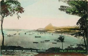 Brazil 1920s Hand Tinted Vista Tirada Dailha Das Cobras Postcard 870