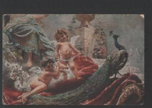 119875 Nude Angels w/ PEACOCK by MAKOVSKY vintage Russian PC