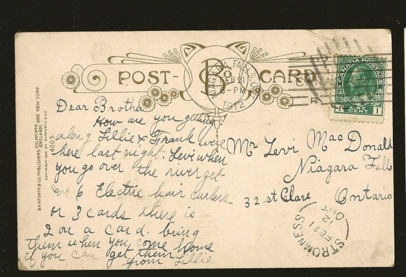 Postmarked 1912 Niagara Falls & Stromness Ont Bamforth Lovers Color Postcard