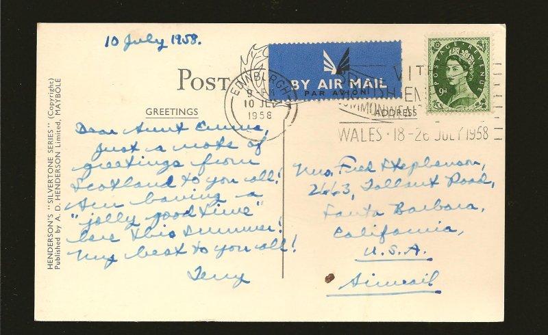Postmark 1958 Edinburgh Scotland Princes Street Edinburgh Photo Postcard