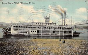 E65/ Wheeling West Virginia Postcard 1910 Steamboat Wharf City of Wheeling 3