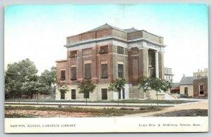 Newton Kansas~Carnegie Library~Main Street Buildings~Rutted Road~Evans Bros~1908