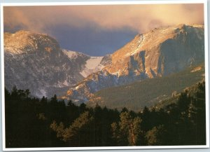 postcard CO Rocky Mountain National Park Otis and Hallett Peaks and Chaos Canyon
