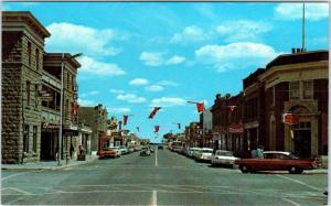 FORT MACLEOD, ALTA  CANADA  MAIN  STREET SCENE   c1950s   Cars    Postcard