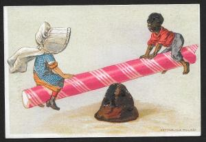 VICTORIAN TRADE CARD White Girl & Black Boy on Candy Cane Seesaw