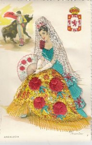 AS: ANDALUCIA, Spain, 1950-60s; Embroidered, Woman & Bull Fighter, Coat of Arms