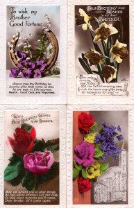 Happy Birthday Brother 4x Antique Raised 3D Flowers RPC Postcard s