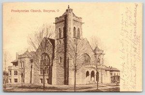 Bucyrus Ohio~Presbyterian Church~2 Story House~1910 Sepia Postcard