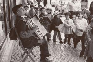 Portugal Street Accordion Busker Children Dancing Postcard