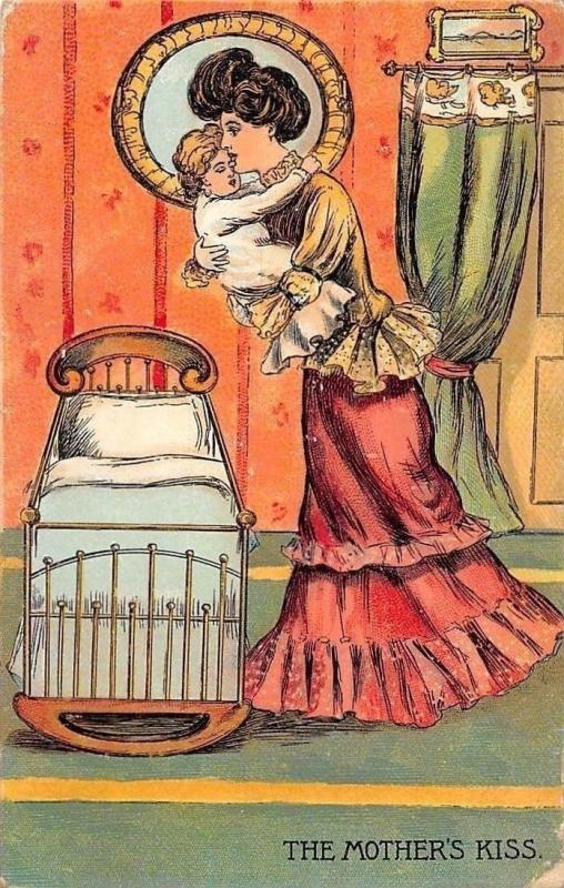 Glamorous Fashion Woman, Baby, Bebe The Mother's Kiss 1914