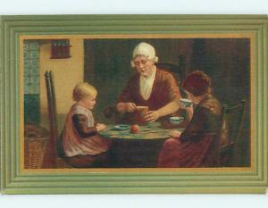 Pre-Linen foreign GIRL DRINKING FROM TEACUP BESIDE MOM AT TABLE HL7359